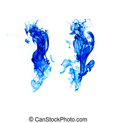 blue flame isolated on white background