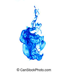 blue flame isolated on white background with clipping part