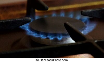 Blue flame of gas burner on a gas cooker