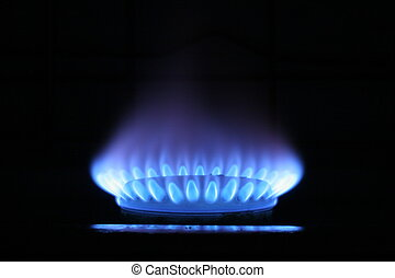 Blue flame of gas