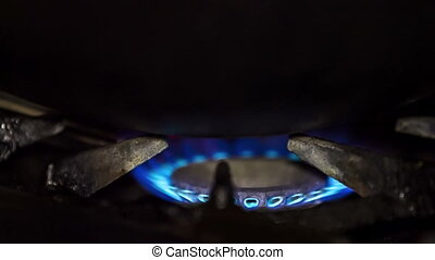 Blue Flame Of Gas Ring On Stove