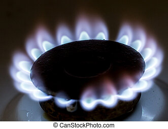 blue flame of natural gas fire as the background