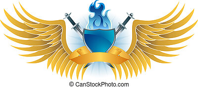 Blue Flame Shield Crest - Winged insignia object with sword,...