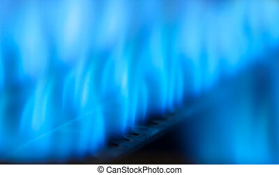 Blue flames - Close-up view of blue flames in gas boiler