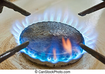Blue flames from burner - Blue flames from gas stove burner....
