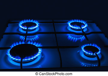 Blue flames of gas burning