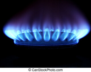 Blue flames of gas stove in the dark...