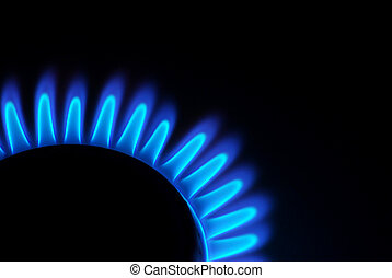 gas stove  - Blue flames of gas stove in the dark