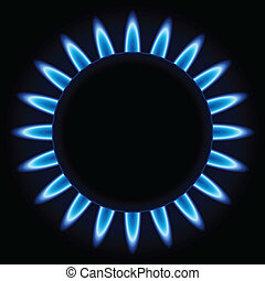Blue flames ring of kitchen gas burner isolated on black...
