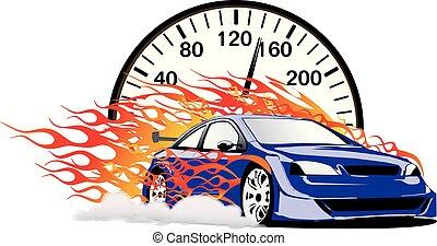 Blue Flaming Car with Velocimetro Vector