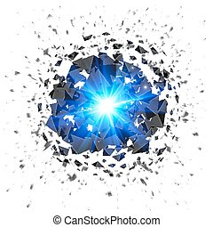 Blue flaming meteor explosion isolated on white background