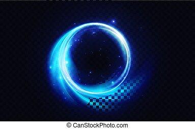Blue flare circle, glowing light effect, neon glow energy shape, abstract luminous swirls