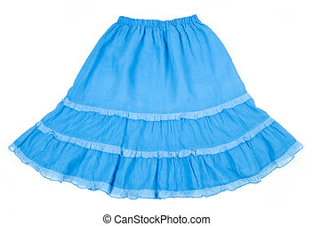 Blue flare cotton skirt isolated on white.