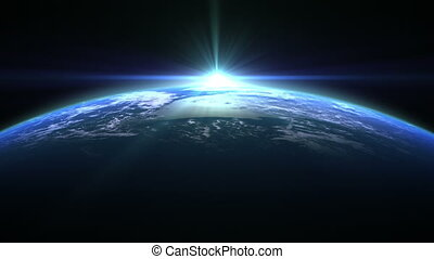 Blue Flare Over The Earth. 3D Animation. Loop.