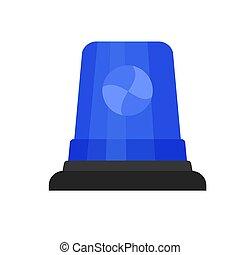 Blue flasher icon, flat style