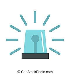Blue flashing emergency light icon, flat style