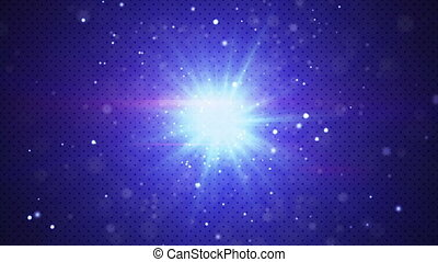 blue flashing light and particles