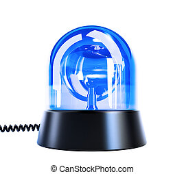 blue flashing light on a white background