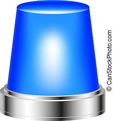 Blue flashing siren isolated on white background