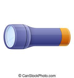 Blue flashlight icon, cartoon style