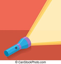 Blue flashlight in flat style on red background