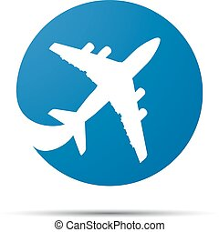 blue flat airplane pictogram on a white background