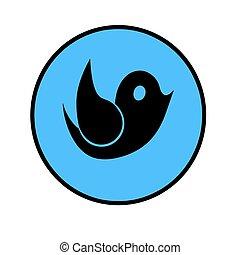 blue flat button with black bird vector