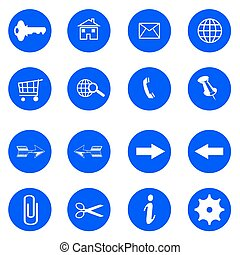 blue flat buttons with internet icons