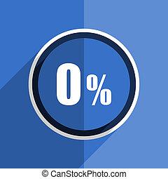 blue flat design 0 percent modern web icon