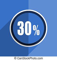 blue flat design 30 percent modern web icon