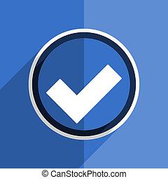 blue flat design accept modern web icon