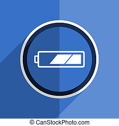 blue flat design battery modern web icon