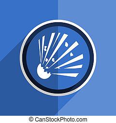 blue flat design bomb modern web icon