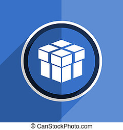 blue flat design box modern web icon