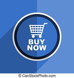 blue flat design buy now modern web icon