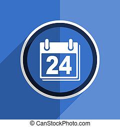 blue flat design calendar modern web icon