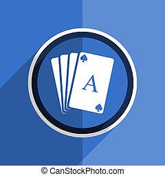 blue flat design card modern web icon