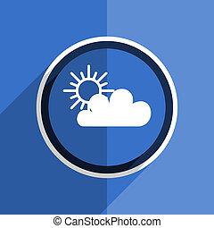 blue flat design cloud modern web icon