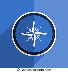 blue flat design compass modern web icon