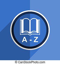 blue flat design dictionary modern web icon