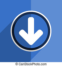 blue flat design download arrow modern web icon