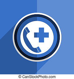 blue flat design emergency call modern web icon