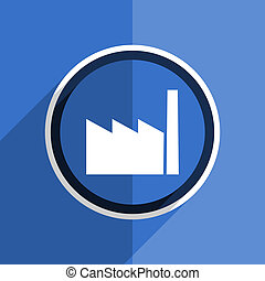 blue flat design factory modern web icon