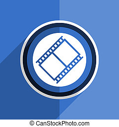 blue flat design film modern web icon