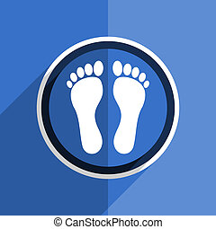 blue flat design foot modern web icon