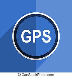 blue flat design gps modern web icon