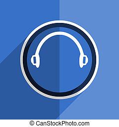 blue flat design headphones modern web icon - flat design ...