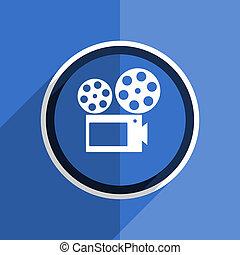 blue flat design movie modern web icon