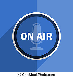 blue flat design on air modern web icon