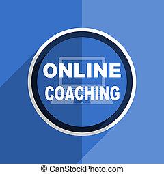 blue flat design online coaching modern web icon